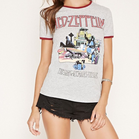"""0e14dbfe66d Forever 21 Tops - Led Zeppelin top... """"the song remains the same"""